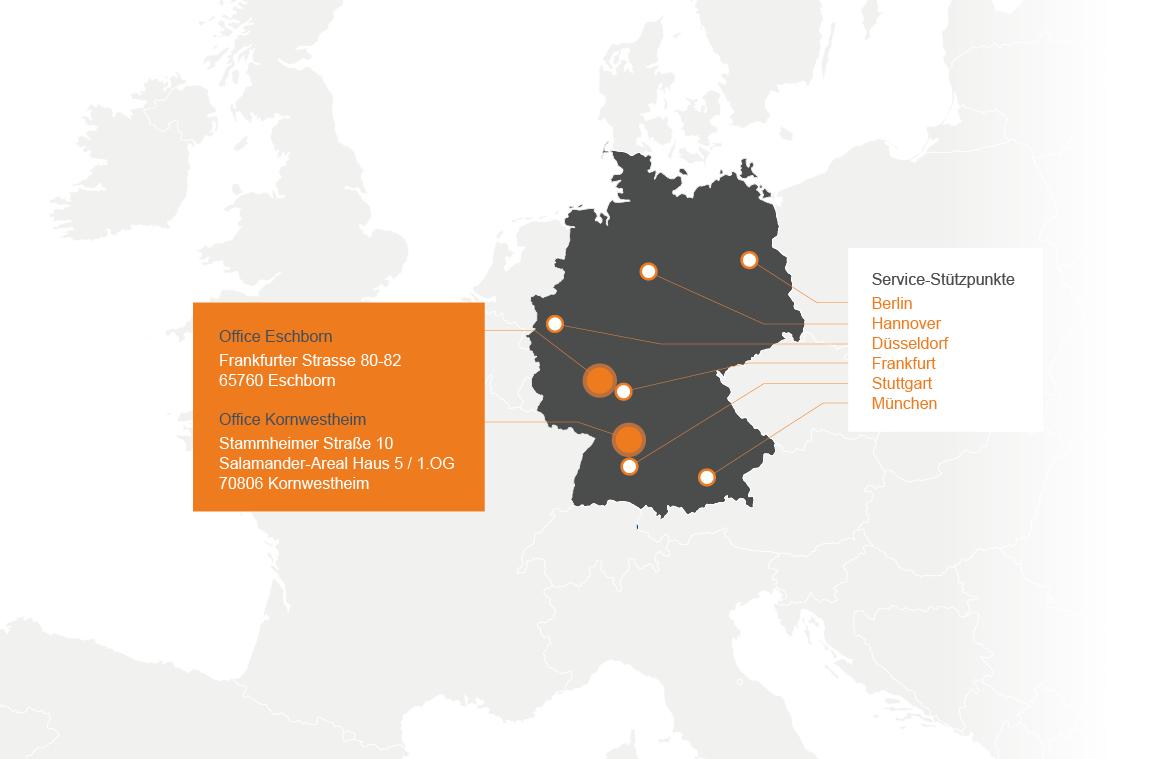 Europakarte mit deutschen Standorten der SUCONI Service GmbH